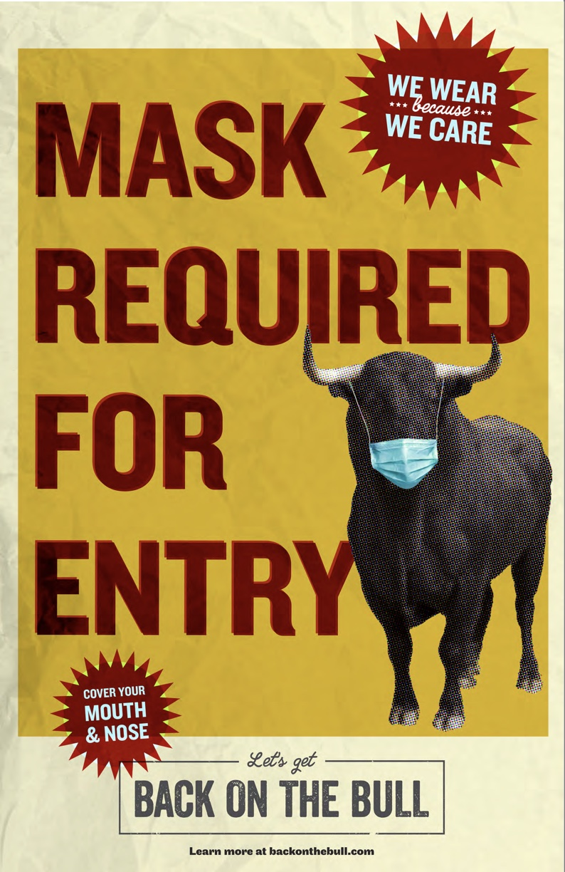 poster with a bull in a medical mask saying 'Mask Required for Entry'