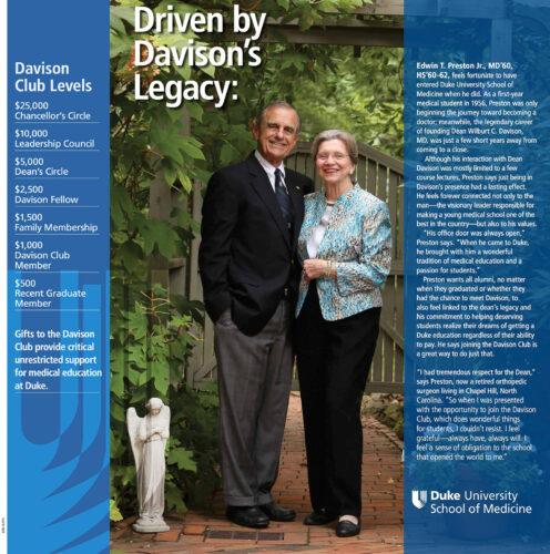 Duke Medicine Magazine page with a well dressed, happy senior couple and text discussing their donation
