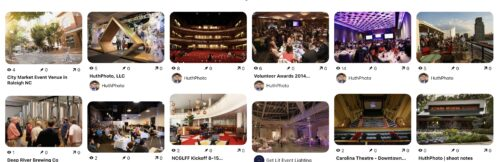 thumbnail gallery of Pinterest pin boards of event venue spaces in Durham NC